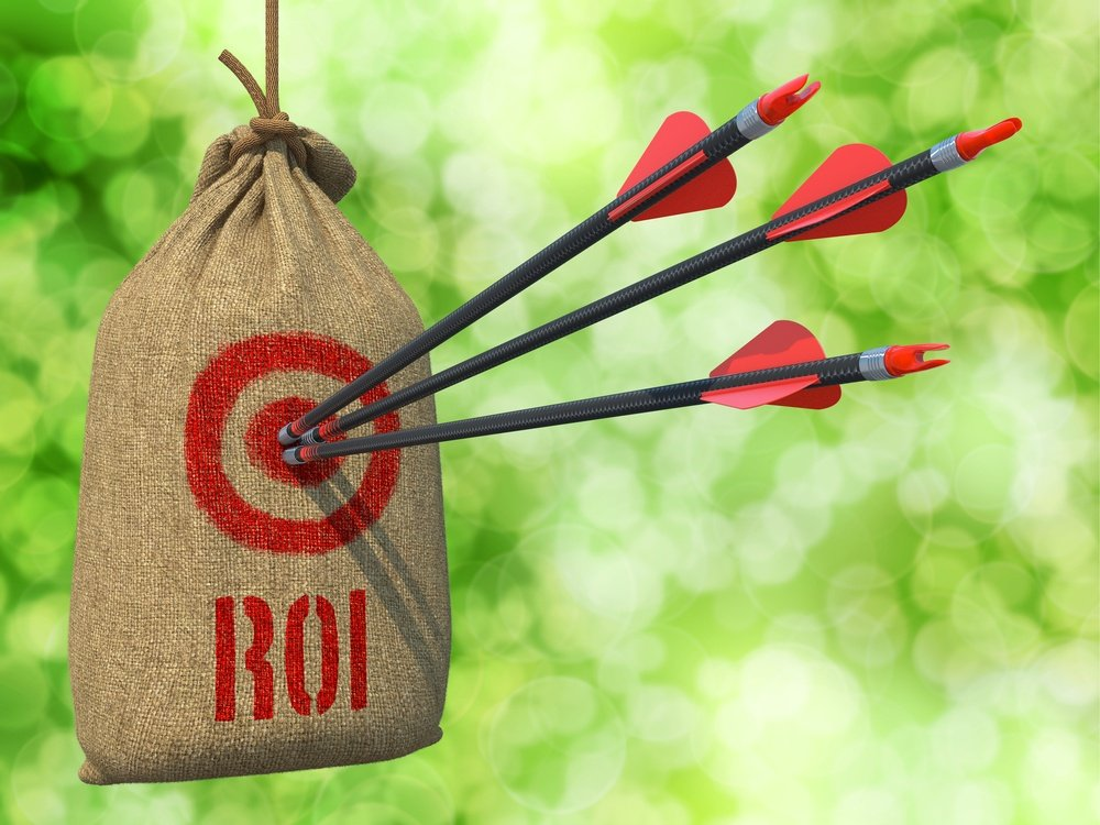 ROI - Three Arrows Hit in Red Target on a Hanging Sack on Natural Bokeh Background.-1