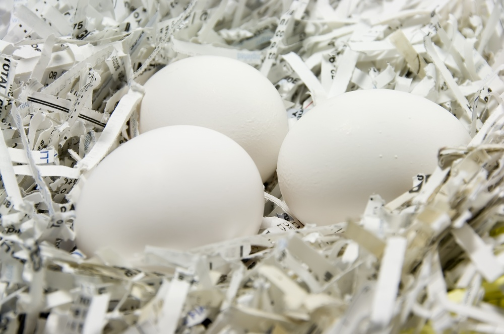 Three eggs in a nest of shredded paper.jpeg